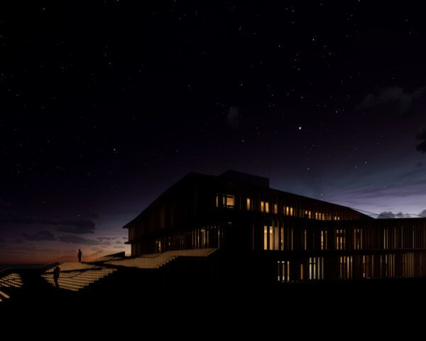 rendering of timber building at dusk