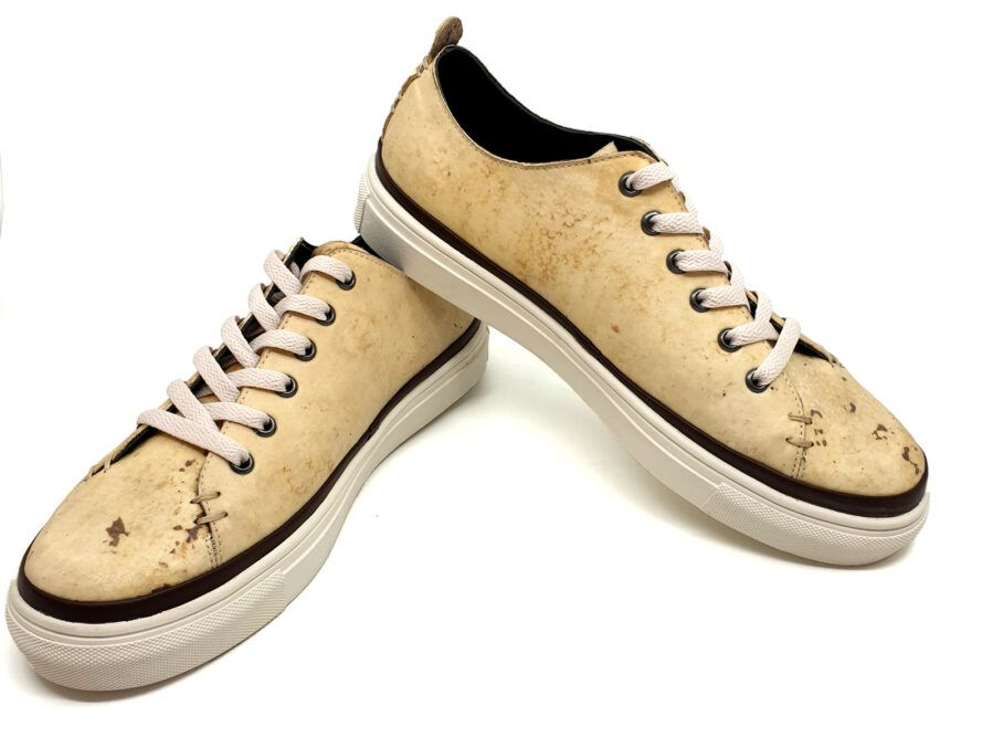 mushroom leather sneakers on white background