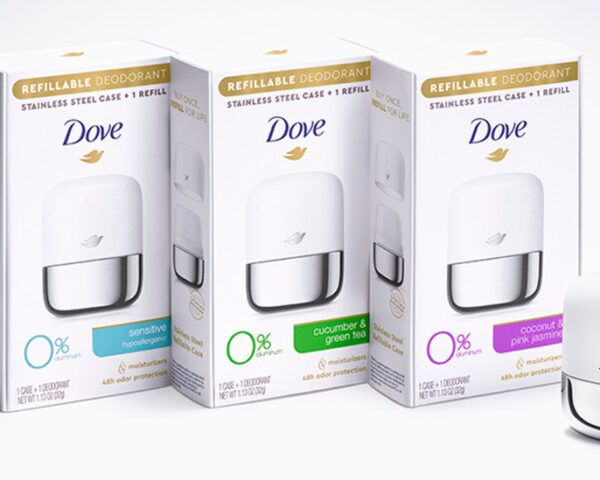Dove-brand refillable deodorants on white background