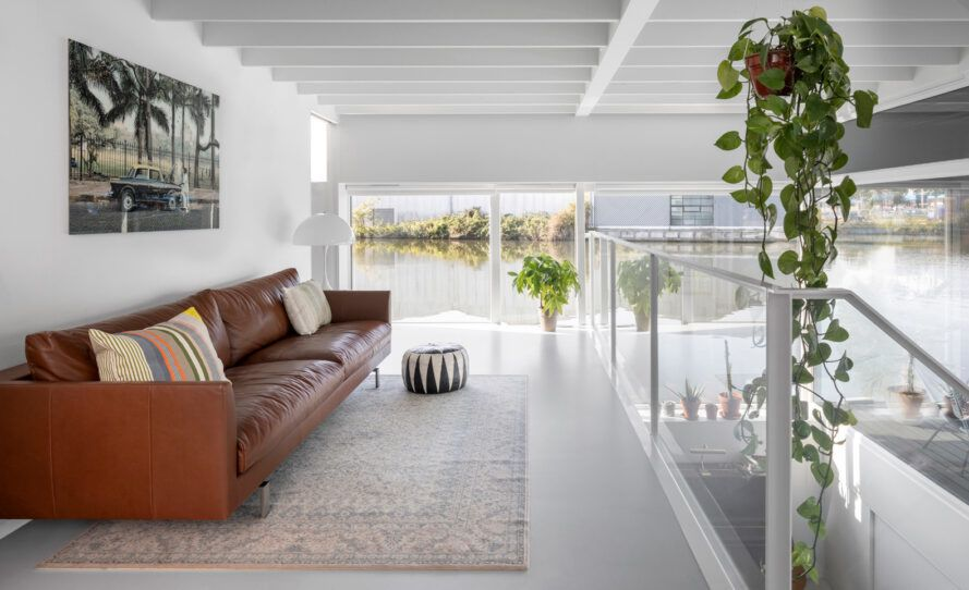 leather sofa in a white room