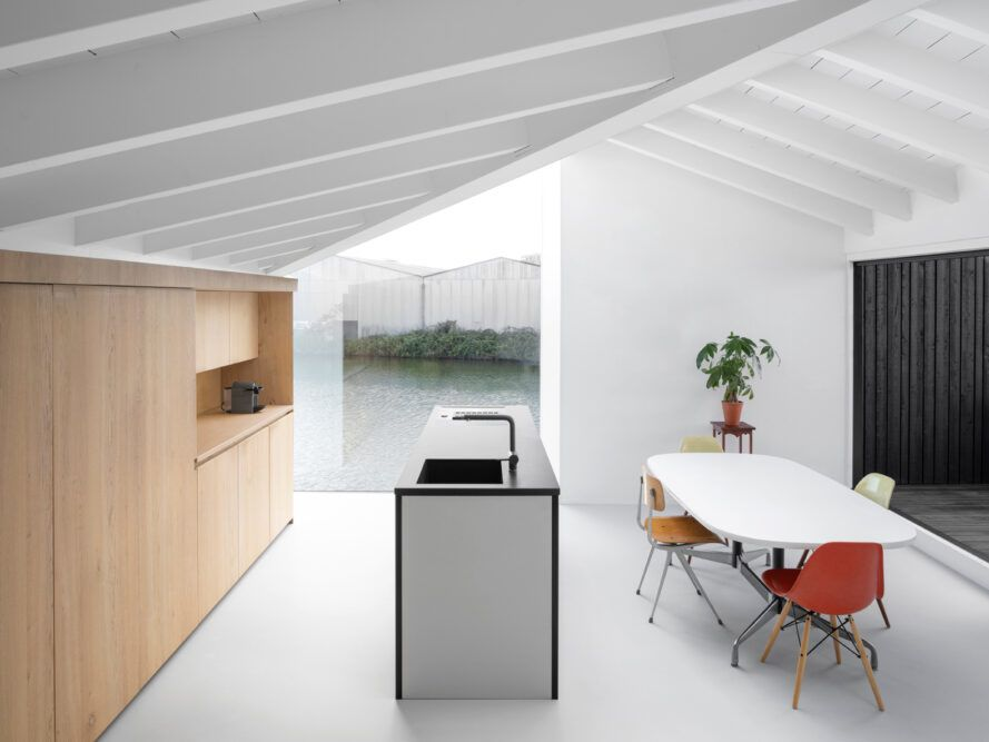 white kitchen with wood cabinets