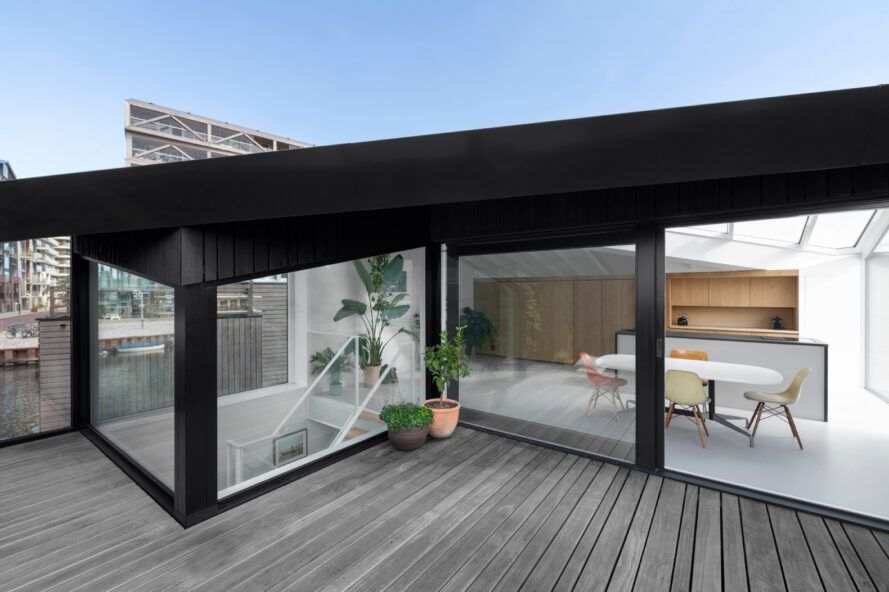 wood patio on a floating home