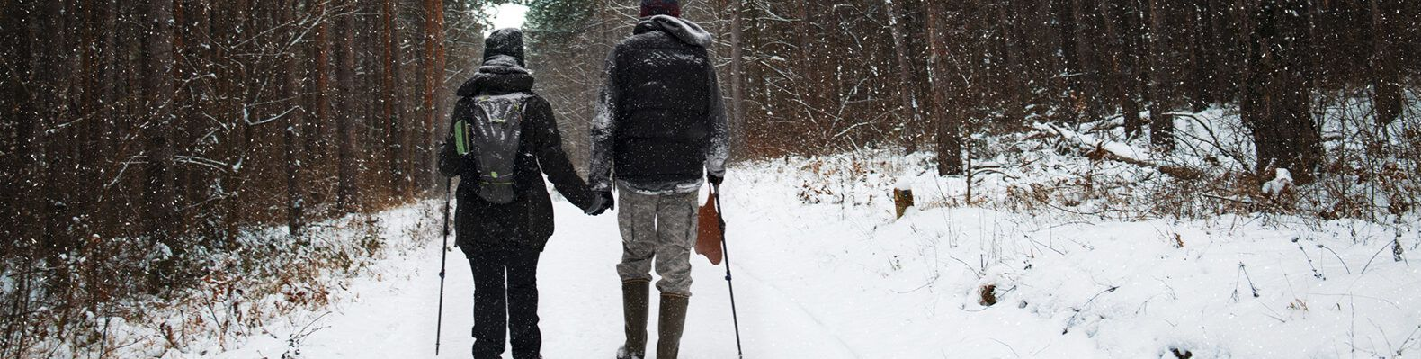 two people hiking in the snowy woods