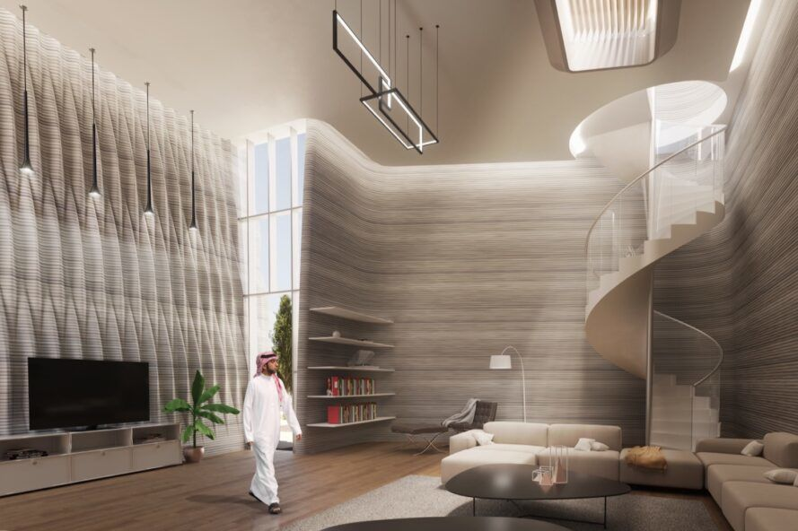 rendering of large beige sofa near spiral staircase