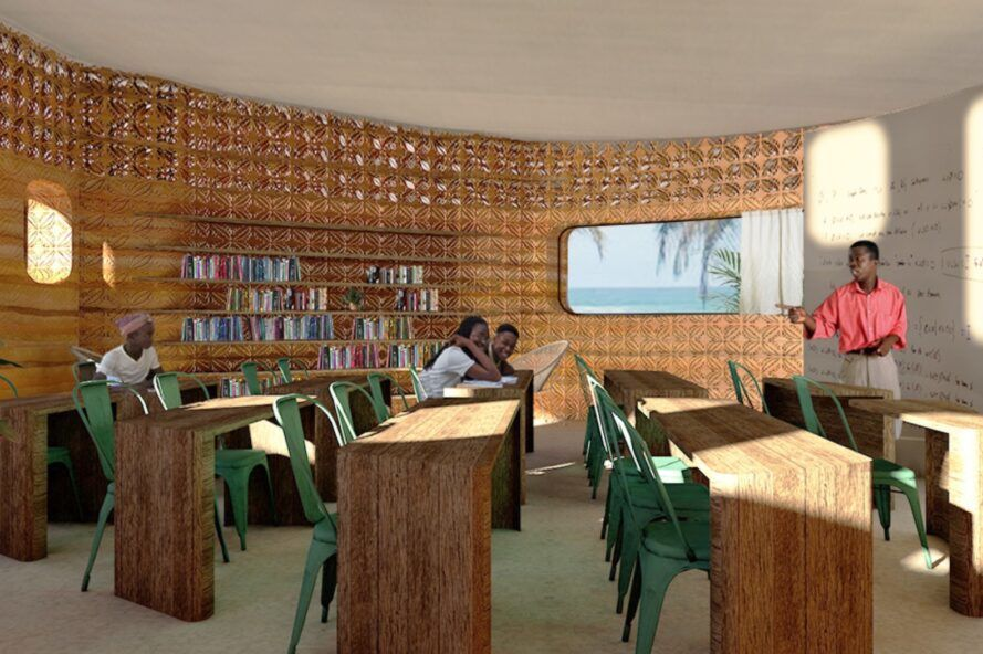 rendering of desks and library inside a school building