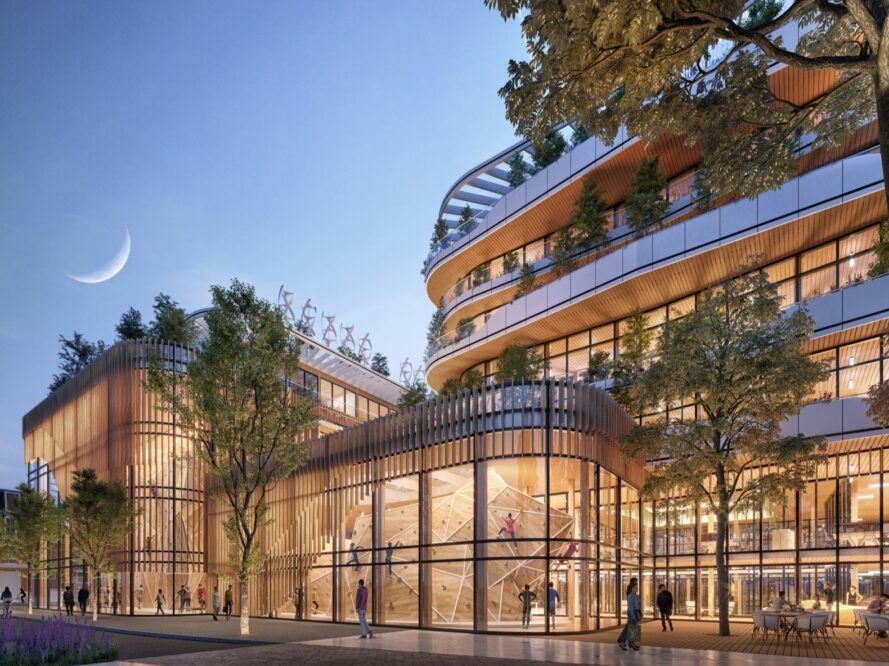 rendering of trees growing around and on top of a glass building