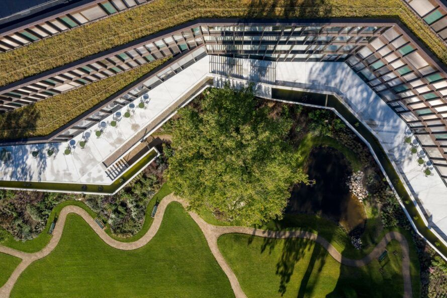 aerial view of office building topped with green roofs