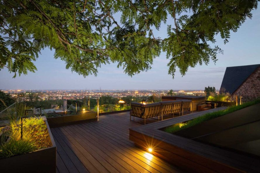 seating on wooden rooftop terrace