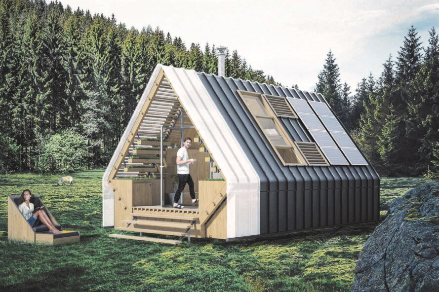 rendering of gabled cabin with glass end wall