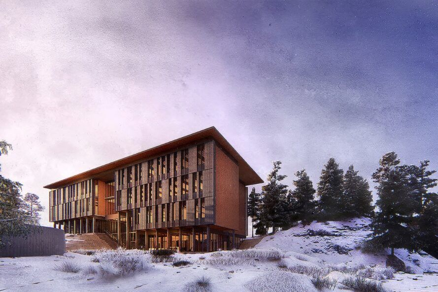 rendering of mass timber structure in snowy landscape