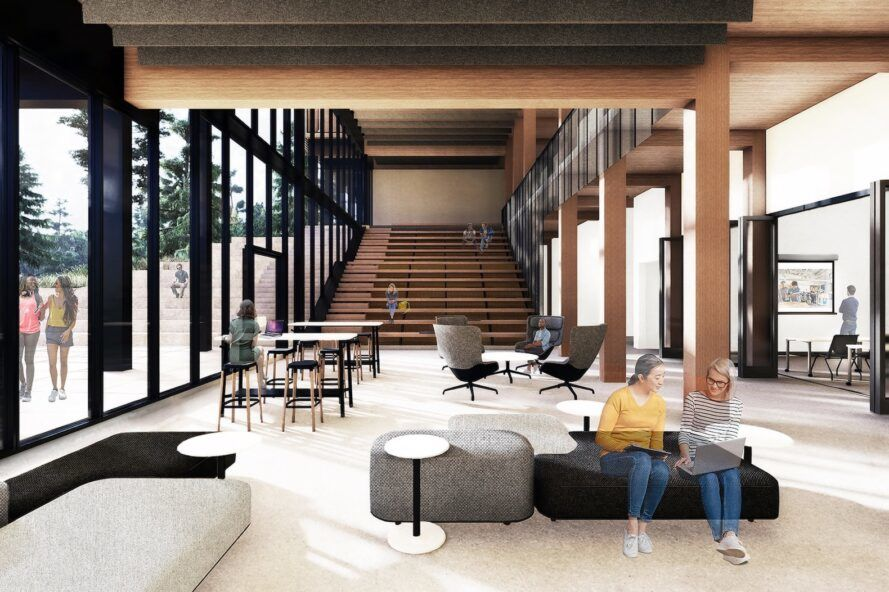 rendering of people sitting on blue and gray benches doing schoolwork