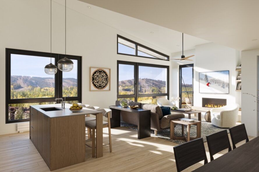 open-plan condo with large windows