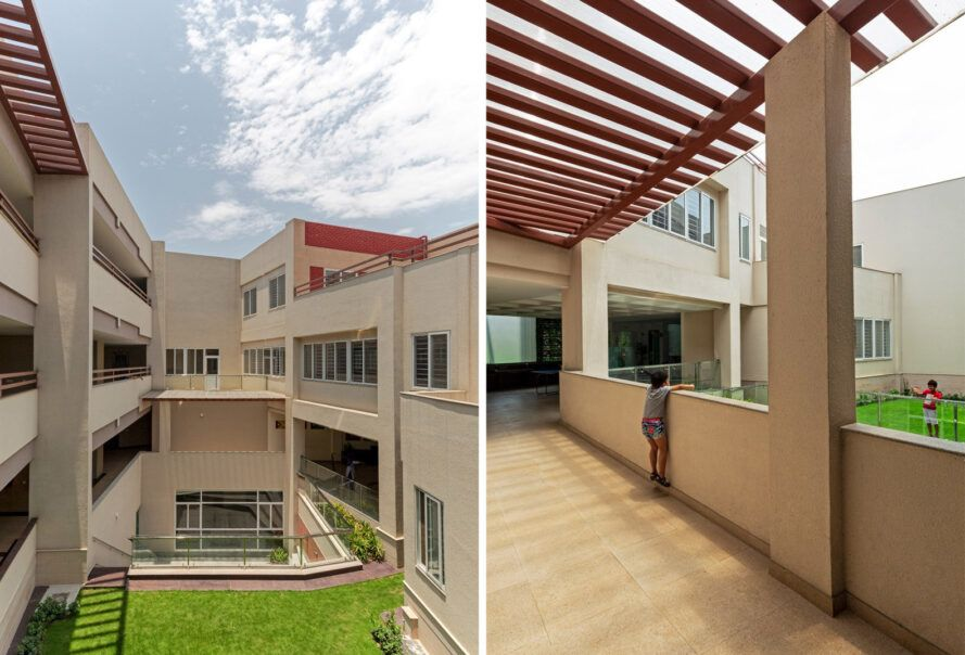 Two photos. On the left, a green courtyard surrounded by buildings. On the right, a child looking over a half-wall in an outdoor hallway.