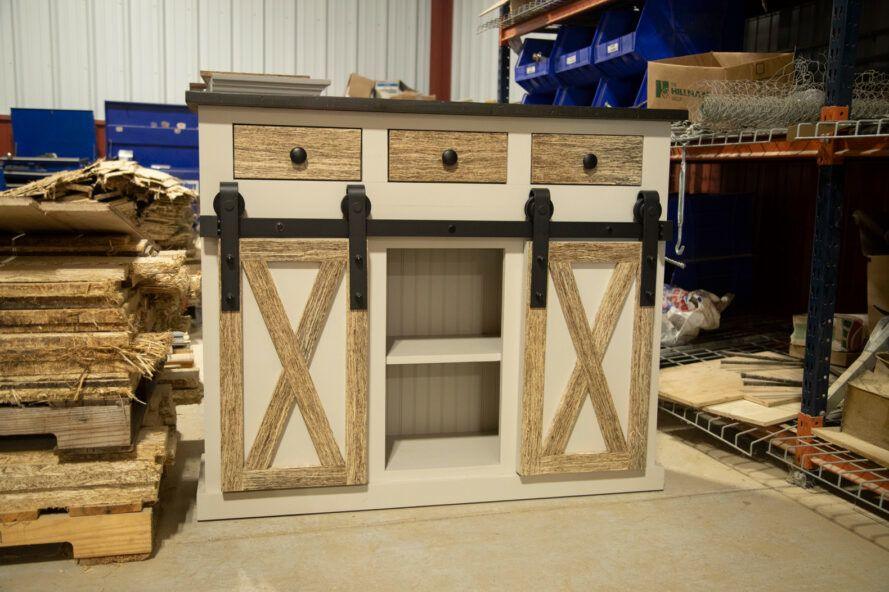 white and tan console table made from hemp-based wood alternative