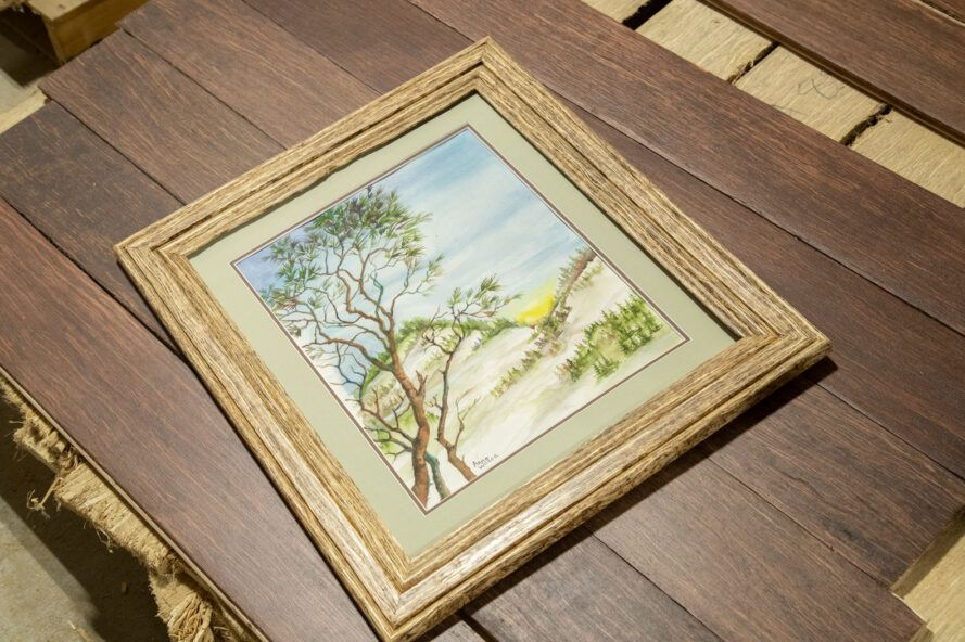 painting in a hemp-based wood alternative picture frame