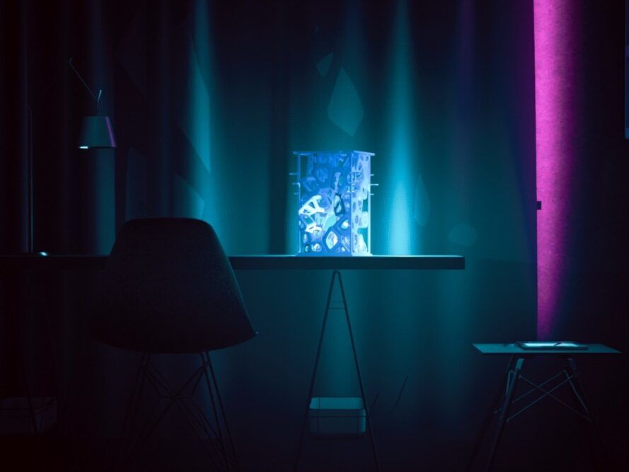 Blue 3d printed lights on the table