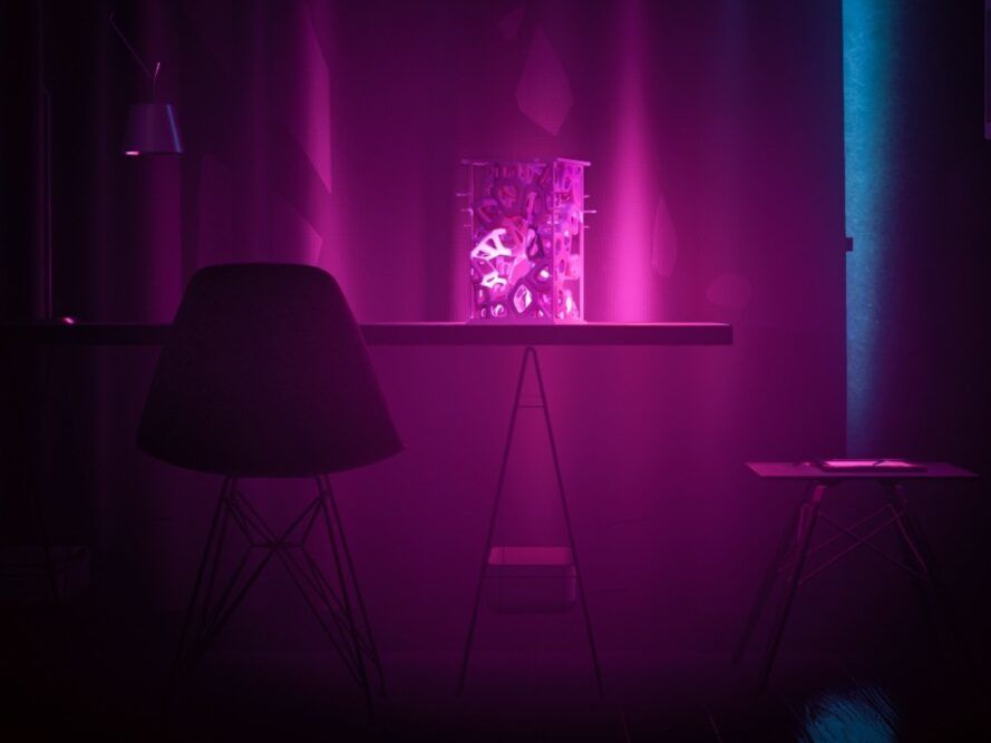 3d printed lights with blossoms on the table