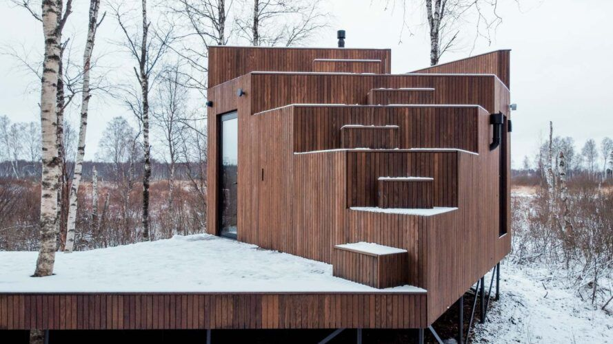 stepped wood terraces on the roof of a wood cabin
