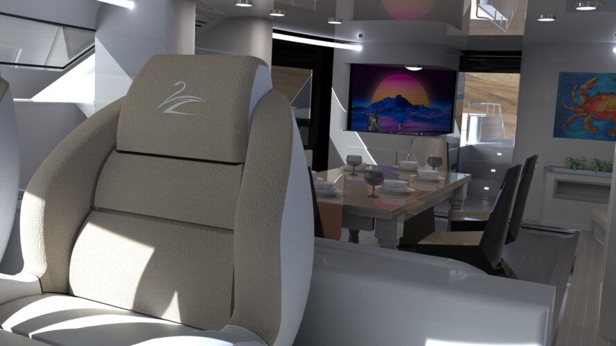 boat interior with dining table