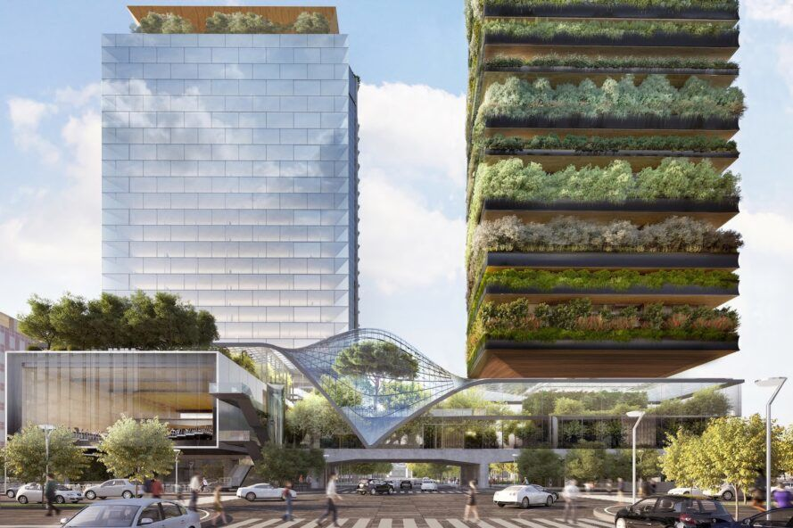 rendering of curving greenhouse next to plant-covered tower