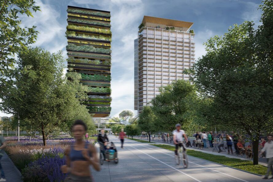 rendering of bike path near plant-covered tower