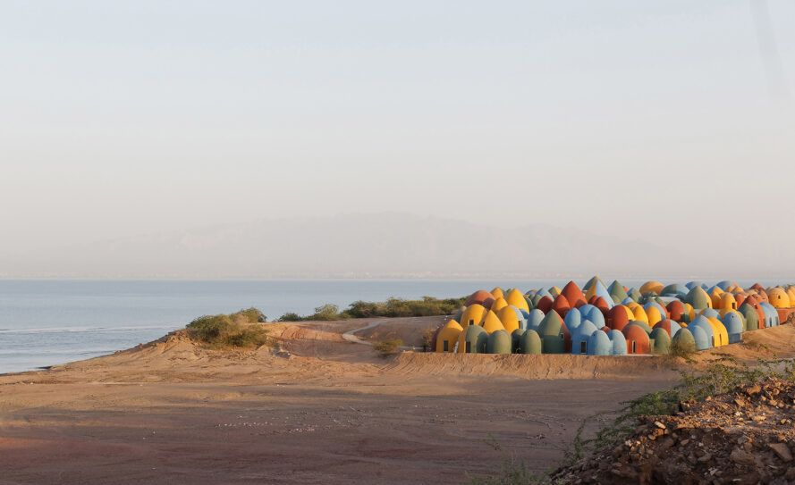 cluster of colorful domes on an island