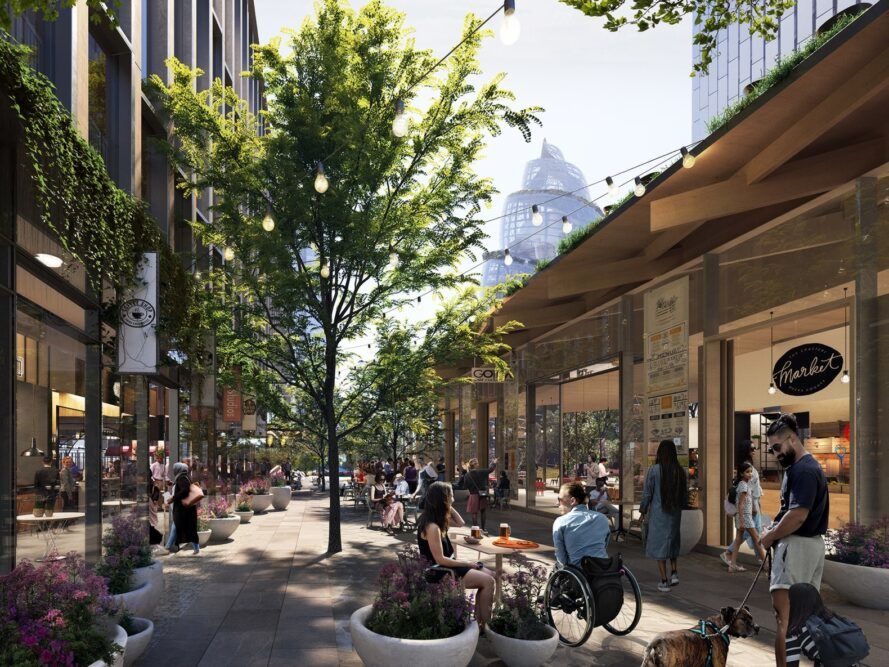 rendering of trees growing near cafes and restaurants