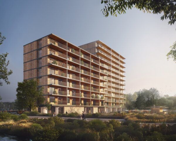 rendering of 11-story timber building