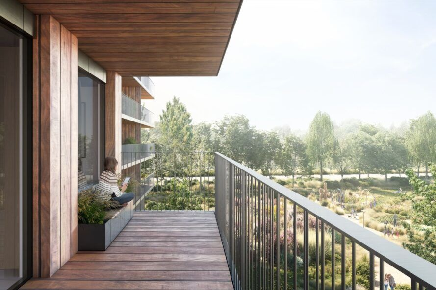 rendering of timber, west-facing balcony