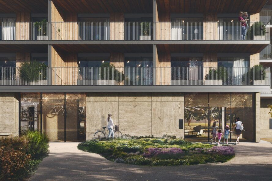 rendering of timber building with several balconies on every floor