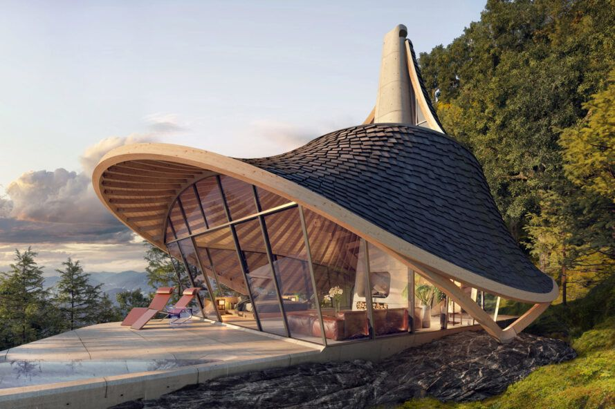 rendering of curved cabin with wall of glass leading to patio