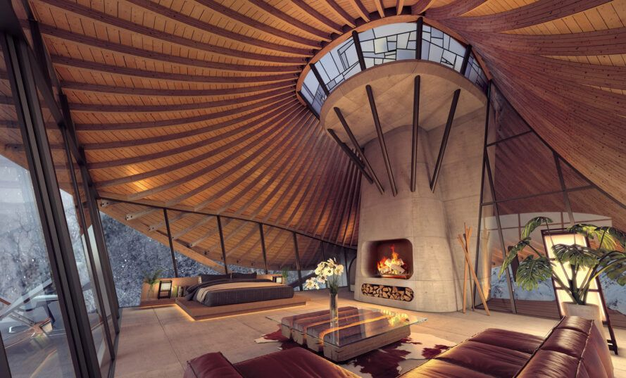 rendering of cabin interior with central concrete fireplace