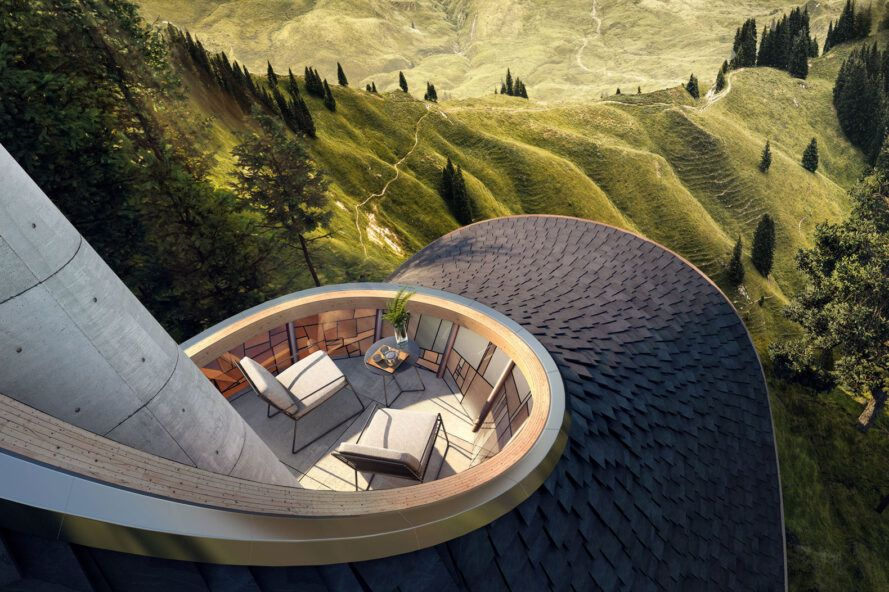 rendering of open-air balcony built into a curving roof