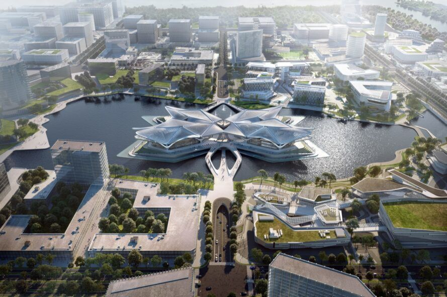 aerial rendering of star-shaped civic center on water