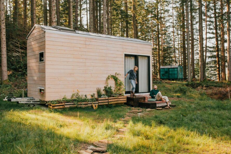 tiny home with raw wood cladding