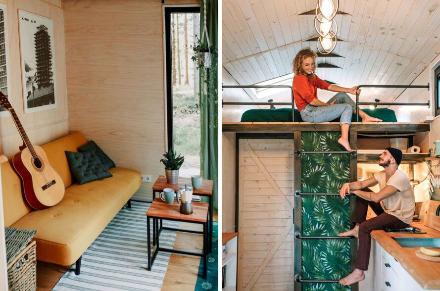 Tiny home interior with yellow sofa and leafy wallpaper