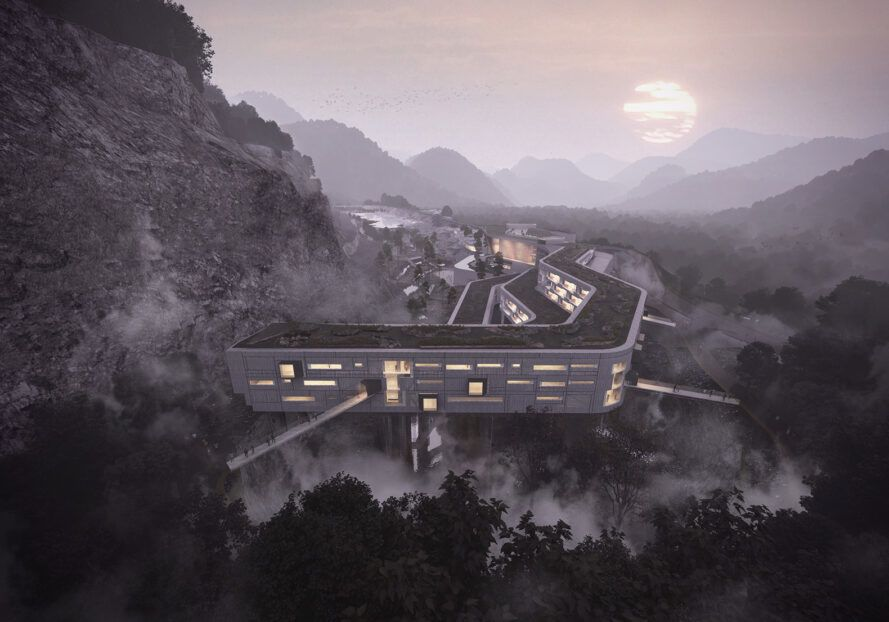aerial rendering of large green-roofed building in mountainous landscape