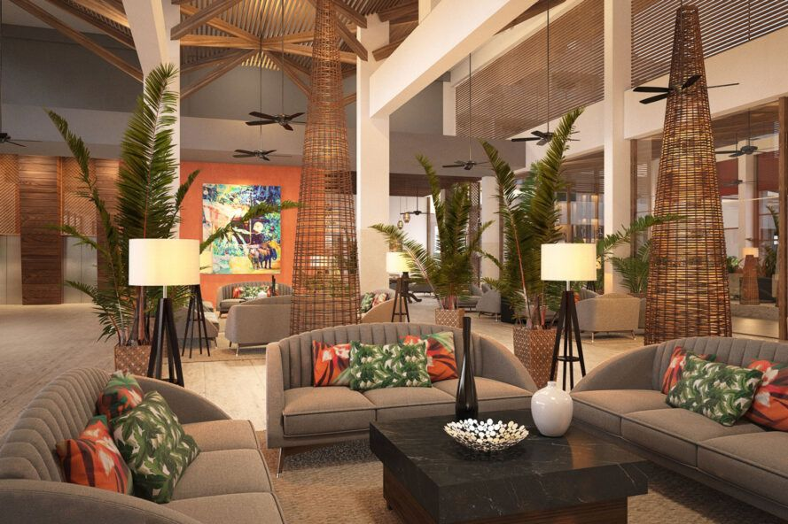 rendering of hotel lobby with gray furnishings and orange decor accents