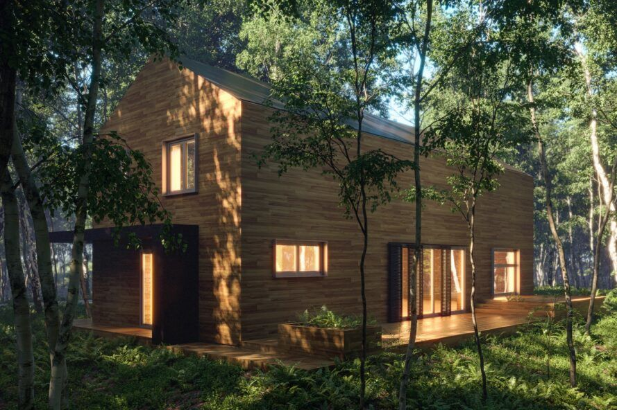 A wood house in a forest.