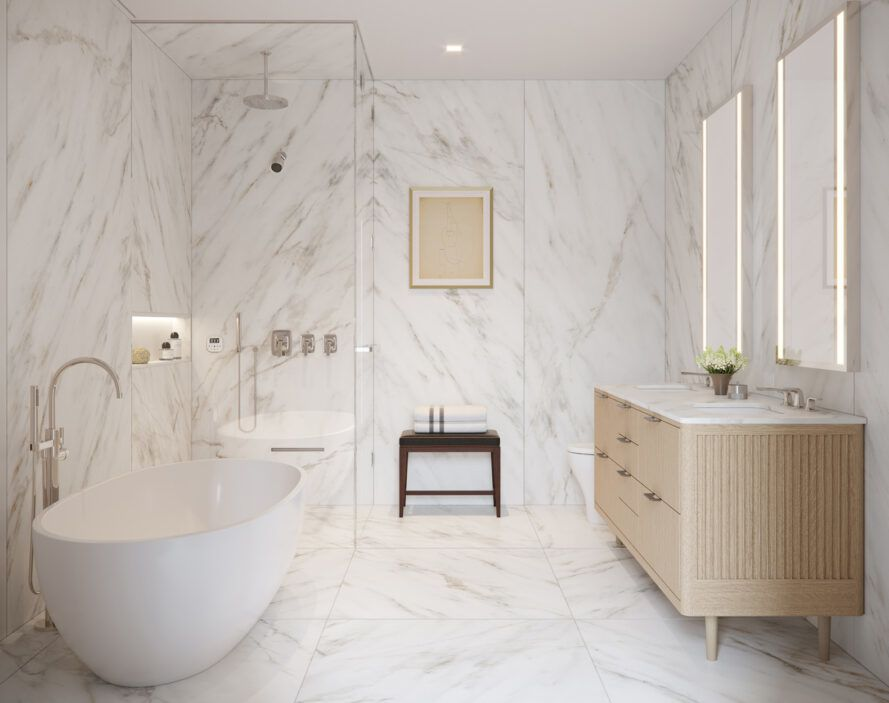 bathroom with soaking tub and marble tile on walls and floors