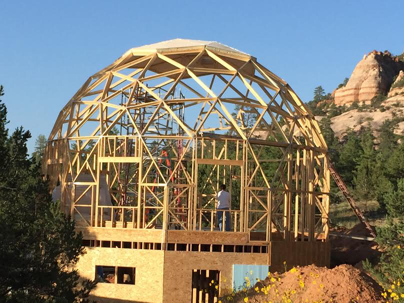 work on building domed house frames from wood