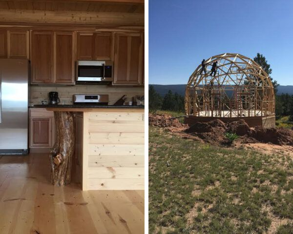 On the left, wood cabinets in kitchen of a dome home. On the right, wood frame of a dome home.
