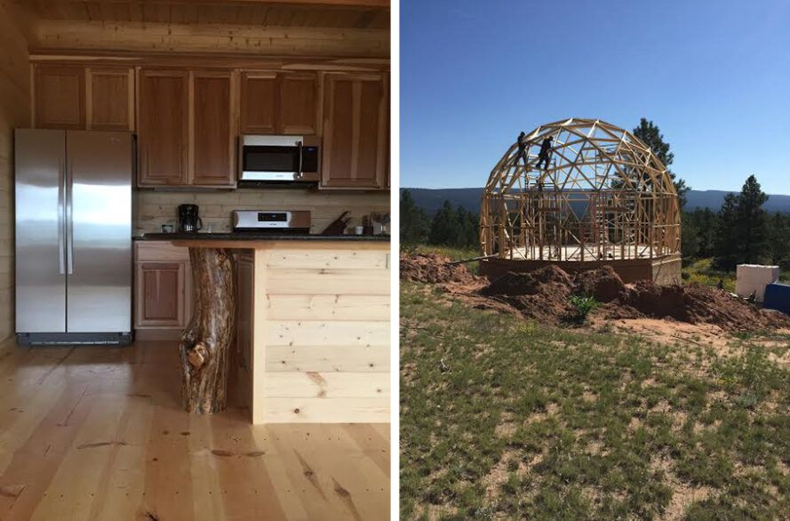 On the left, wooden cabinets in the kitchen of a domed house.  To the right, the wooden frame of a domed house.