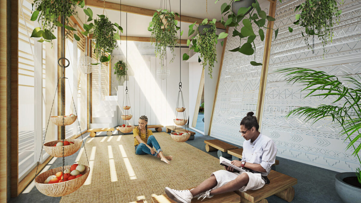 rendering of floating home interior filled with plants