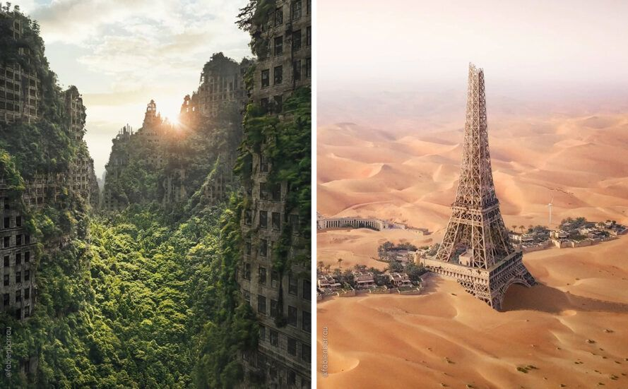 On the left, Chicago buildings overgrown with plants. On the right, Eiffel Tower surrounded by desert.