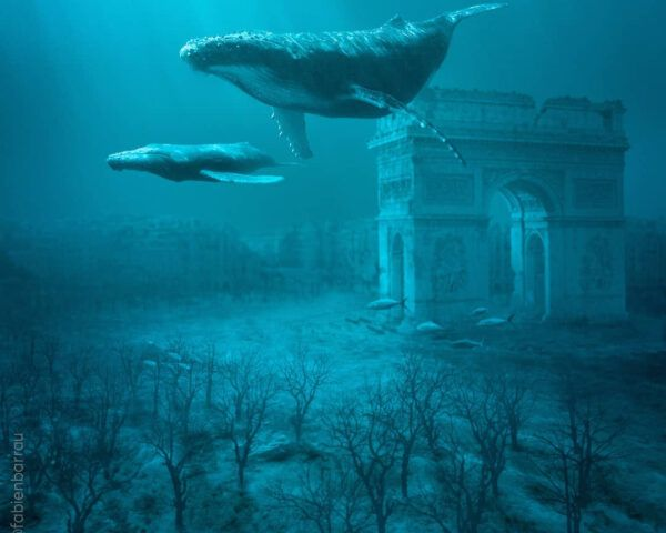 Whales swimming past Arc de Triomphe