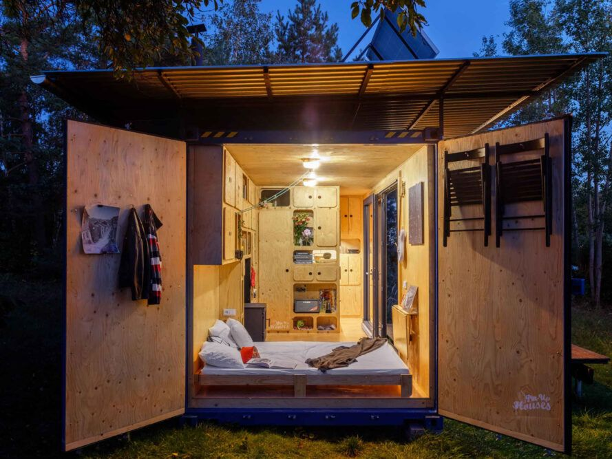 walls of a shipping container open to the outdoors