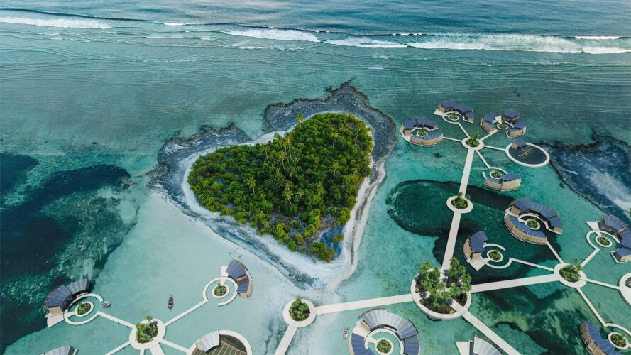 aerial rendering of pathways connected floating homes surrounded by islands