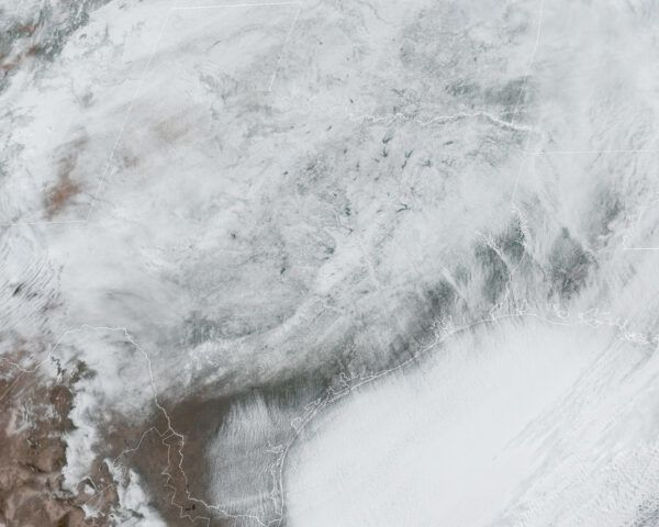 satellite image of Texas covered in snow
