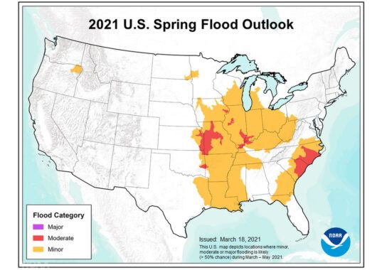 A U.S. map showing flood predictions.